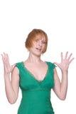 för flickagreen för tät klänning emotionell stående upp Arkivfoto