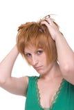 för flickagreen för tät klänning emotionell stående upp Royaltyfri Fotografi