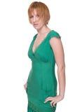 för flickagreen för tät klänning emotionell stående upp Arkivfoton