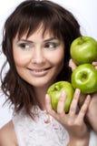 för flickagreen tre för äpplen nytt barn Fotografering för Bildbyråer