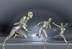 för flickalivsstil för robot 3D toppen klistermärke BG för affisch Arkivfoto