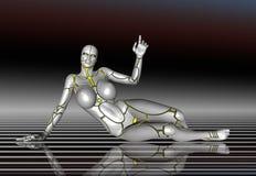 för flickalivsstil för robot 3D toppen klistermärke för affisch Royaltyfri Foto
