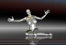 för flickalivsstil för robot 3D toppen klistermärke för affisch Royaltyfria Bilder