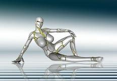för flickalivsstil för robot 3D toppen klistermärke för affisch Fotografering för Bildbyråer