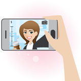 För flickatagande för tecknad film gulligt foto för selfie royaltyfri illustrationer