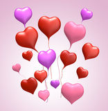 för floathjärta för färger 3d förälskelse Arkivfoto