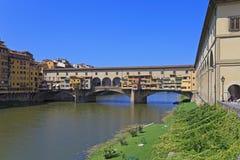 för florence för bro berömd vecchio gammal ponte Fotografering för Bildbyråer