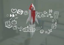 för flyg- och massmediasymboler för raket 3D diagram för teckningar Royaltyfri Bild