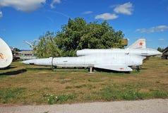 För `-flyg för utställning TU-143 `, Sovjet som prospekterar det obemannade flyg- medlet Arkivbild