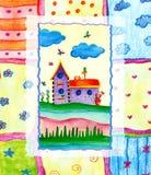för flygillustration för näbb dekorativ bild dess paper stycksvalavattenfärg arkivbild