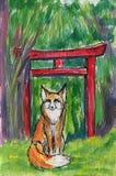 för flygillustration för näbb dekorativ bild dess paper stycksvalavattenfärg En räv, röda japanska toriiportar, skog arkivbilder