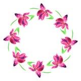 för flygillustration för näbb dekorativ bild dess paper stycksvalavattenfärg Kransen av våren blommar på vit bakgrund Botanisk de Arkivfoto
