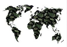 för flygillustration för näbb dekorativ bild dess paper stycksvalavattenfärg Svart världskarta med elem för blom- design stock illustrationer