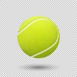 För flygtennis för vektor realistisk closeup för boll på genomskinlig bakgrund Designmall i EPS10 Arkivbild
