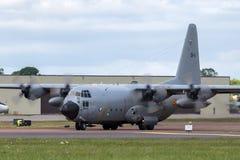 För flygvapenLockheed C-130H Hercules för belgisk luft del- belgiskt flygplan CH-11 militärt last Fotografering för Bildbyråer