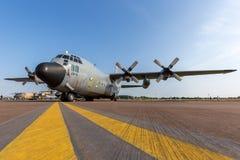 För flygvapenLockheed C-130H Hercules för belgisk luft del- belgiskt flygplan CH-11 militärt last Royaltyfria Foton