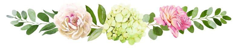 för fokusförgrund för 3 bukett bröllop Pionen vanlig hortensia och steg blommavattenfärgen il royaltyfri illustrationer