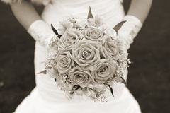 för fokusförgrund för 3 bukett bröllop Sepia Royaltyfri Bild