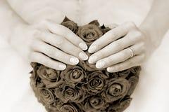 för fokusförgrund för 3 bukett bröllop Sepia Arkivbilder