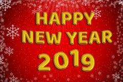 För folieballong för lyckligt nytt år 2019 guld- ord med röd jul Arkivbilder