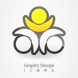 För folkaffär för grafisk design logo Arkivbilder