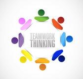 För folkcirkulering för teamwork tänkande design för illustration Arkivfoton