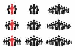 för folkperson för symbol en arbete för användare set Folkmassa av folk i svarta och röda färger Grupp människor i pictogramform vektor illustrationer