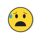 För folksinnesrörelse för gul ledsen framsida chockad negativ symbol Arkivfoton