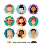 För folktecknad film för mångkulturella avatars ställde nationella etniska symboler in royaltyfri illustrationer