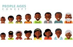 För folkutvecklingar för afrikansk amerikan etniska avatars på olika åldrar royaltyfri illustrationer