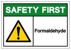 För Formaldehydesymbol för säkerhet första tecken, vektorillustration, isolat på den vita bakgrundsetiketten EPS10 stock illustrationer