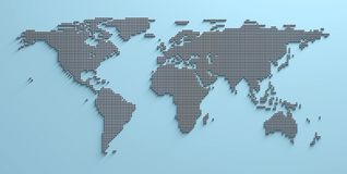 För formbild för världskarta 3D illustration royaltyfri fotografi