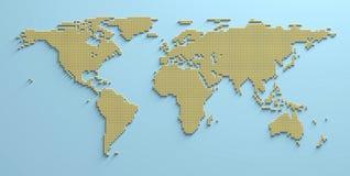 För formbild för världskarta 3D illustration arkivbild