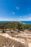 För Formentera för flyg- sikt Ibiza ö horisont medelhavs- Spanien Arkivbild