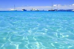 för formentera för strand blått vatten för turkos illetes fotografering för bildbyråer