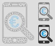 För forskningvektor för euro 2D modell för mobilt ingrepp och mosaisk symbol för triangel royaltyfri illustrationer