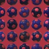 För fotbollbollar för rosa färger blå bakgrund för textur sömlös Royaltyfri Foto