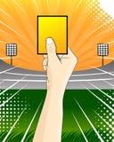För fotbolldomare för gult kort vektor Arkivbild