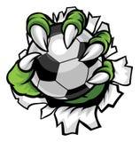 För fotbollfotboll för gigantisk djur jordluckrare hållande boll royaltyfri illustrationer