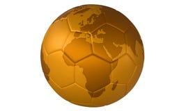 för fotbollguld för boll 3d fotboll för illustration guld- Arkivbild