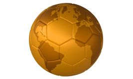 för fotbollguld för boll 3d fotboll för illustration guld- Royaltyfri Foto