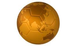 för fotbollguld för boll 3d fotboll för illustration guld- Royaltyfria Bilder