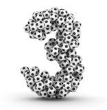 för fotbollnummer för 3 bollar fotboll Royaltyfri Bild