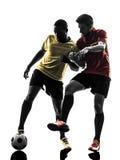 För fotbollspelare för två män stående kontur Fotografering för Bildbyråer
