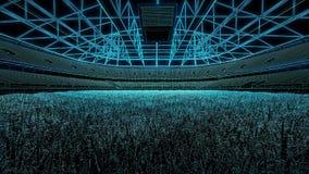 För fotbollstadion 3D för amerikansk fotboll utkast Arkivfoto