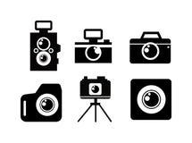 För fotokamera för svart plan symbol Royaltyfri Illustrationer