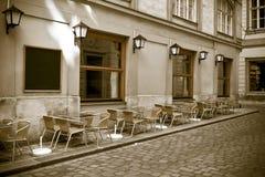 för fotostil för cafe utomhus- tappning royaltyfria foton