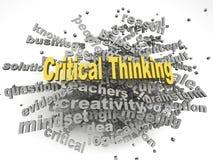 för frågebegrepp för bild 3d kritisk tänkande bakgrund för moln för ord Royaltyfri Bild