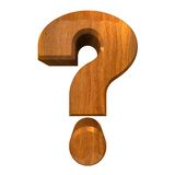 för frågesymbol för fläck 3d trä Fotografering för Bildbyråer