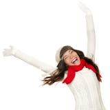 för framgångsvinnare för begrepp rolig kvinna för vinter Arkivbild